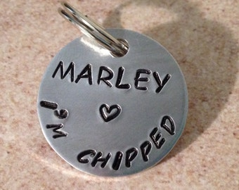 dog id tag, heart dog tag, dog tag for dogs, I'm chipped tag, pet id tag, personalized dog tag, custom pet tag