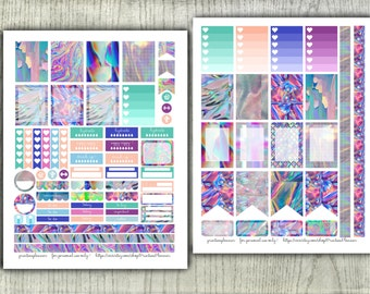 Holographic Planner Stickers for Erin Condren Print at Home DIY