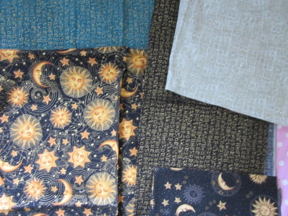 Sun stars and moon fabric astrology star sign fabric in for Astrology fabric