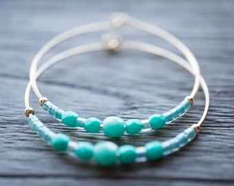 day / turquoise blue and gold hoop earrings