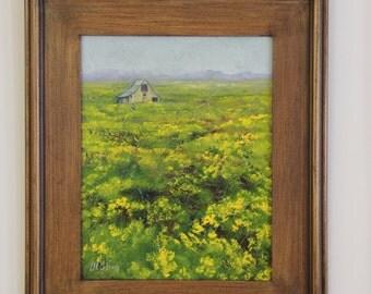 "Field of Flowers - 11"" x 14"" Framed Original Oil Painting"
