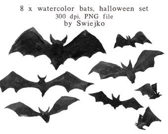 Watercolour Clipart, Halloween Clipart, Digital Watercolor, Watercolor Bats