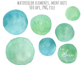 Digital Clipart ,Watercolor Dots, Hand Painted Clipart, Dots, Blog Elements