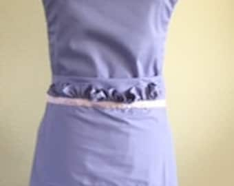 Lovely Purple Women's Apron with Ruffles with Pink Ribbon - Adjustable Neckband