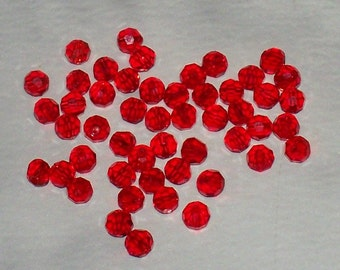 Faceted Clear Orange-Red Glass Rounds - 4MM