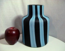 Vintage Raymor Blue and Black Striped Italian Glass Vase, Free Shipping (172)