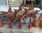 Vintage PATRIOTIC STAR Ornaments | Stars & Stripes | Red, White and Blue | Patriotic | USA | Rustic | Primitive