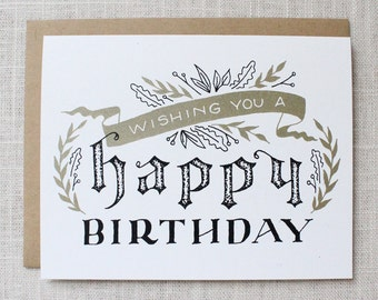 Happy Birthday Floral Banner Card