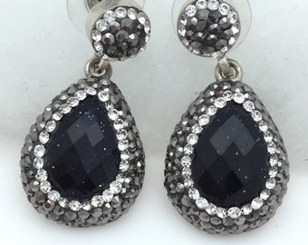 Dark Blue Goldstone and Swarovski Crystal Dangle Earrings
