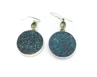 Druzy and Peridot Dangle Earrings