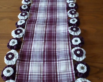 Table runner #1  in Burgandy and white with double yoyos