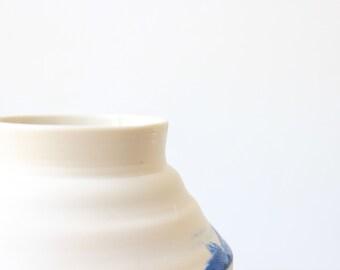 Porcelain  vase hand made porcelain vessel blue and white porcelain