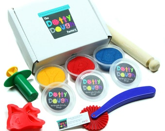 Handmade dotty dough - Child's first play dough set