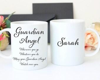 Guardian Angel Mug, Personalised Guardian Angel, Guardian Angel Gift, Loss of Loved One, Personalised Angel Mug, Angel Gift, Angel