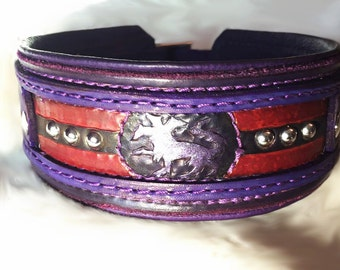 Leather Dog Collar Hand Tooled Cerberus