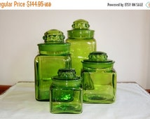 LE Smith 4 Piece Square Green Glass Lidded Canister Set, Apothecary Jars Ground Glass Thumbprint Lids, Vintage Kitchen Pantry Storage