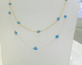 Evil eye necklace in solid K14 white,yellow or rose gold