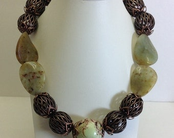 Chunky Jade and copper necklace.