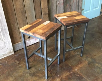 Reclaimed Wood Patchwork Barn Wood Bar Stools, Industrial Stool, Hand Welded Steel Base and Eco-Friendly Finish - Set of Two