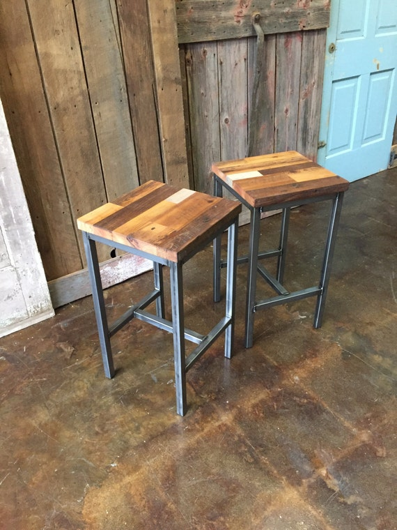 Reclaimed Wood Bar Stools ~ Reclaimed wood patchwork barn bar stools industrial
