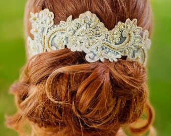 Gold Beaded Lace Hairpiece, Lace Hair Comb, Champagne Lace Headband, Floral Hairpiece, Bridal Pearl Hair Piece, Beaded Bridal Hairpiece
