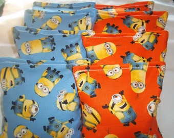 8 ACA Regulation Cornhole Bags -  The Minions on Blue and Orange Prints