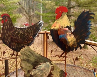 Hand Painted Metal Garden Chicken or Rooster