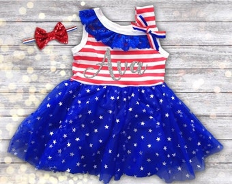 4th of July Dress, 4th of July Girl Outfit, Personalized Girl 4th of July Dress, Red, White and Blue Dress, Patriotic Baby Dress, Size 3m-6T