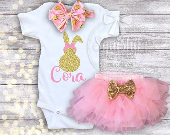 Baby Girl Easter Outfit Personalized Easter Shirt Easter Bodysuit Girl Easter Clothes Bunny Bodysuit Outfit Options: Top, Headband Bloomers