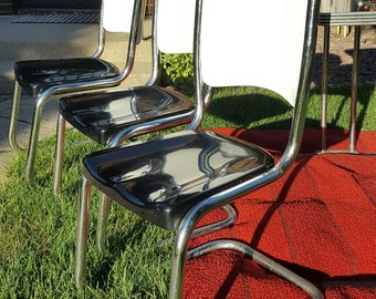 Unique Set of 3 Metal Black and White 1940's Style Mid Century Chrome Dining Chairs-No Table; Mid Century Kitchen Chairs