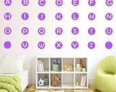 10% OFF 26 Alphabet Wall Decals Letter Wall Stickers Nursery kids Learning Wall Art Stickers Polka Dot Wall Decals