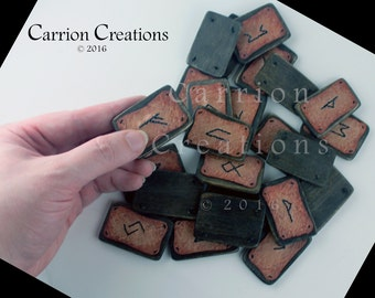 Hand Embroidered Leather and Wood Elder Futhark or Germanic Futhark Rune Set