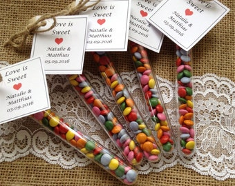 Test tube favours -Love is sweet - Wedding favours - Party favours - childrens favours