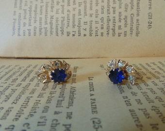 Vintage Screw Back Blue Rhinestone Earrings Vintage Jewelry