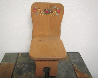 vintage Handcrafted ROSEMALED Pine  CHILDS CHAIR.