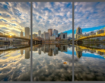 The Lonely Leaf Float Mount Photo Metal Print Triptych - Pittsburgh Skyline Photograph Picture Cityscape Autumn Reflection