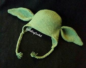 Crochet Yoda Hat/ Yoda Costume