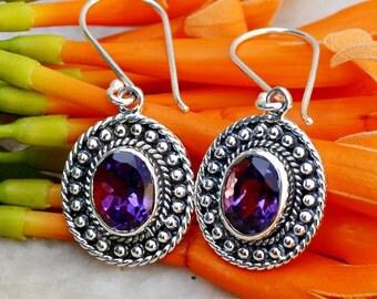 Amethyst Earrings - Silver Amethyst Earring - February Birthstone Earrings - Gemstone Earring, Purple Gemstone Earrings - Amethyst Jewelry