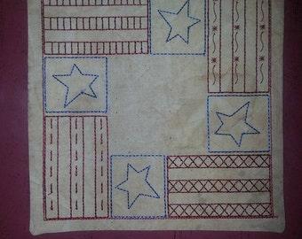 Primitive Stars & Stripes Square Candle Mat