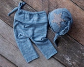 Baby blue and Grey Newborn Pant and Hat 2-Piece, Baby Pant Set, newborn boy pant set, newborn boy prop