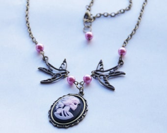 Skull Cameo Necklace Heirloom Cameo Necklace Pink Skull Necklace Day of the Dead Necklace Victorian Gothic Necklace Brass Bird Necklace