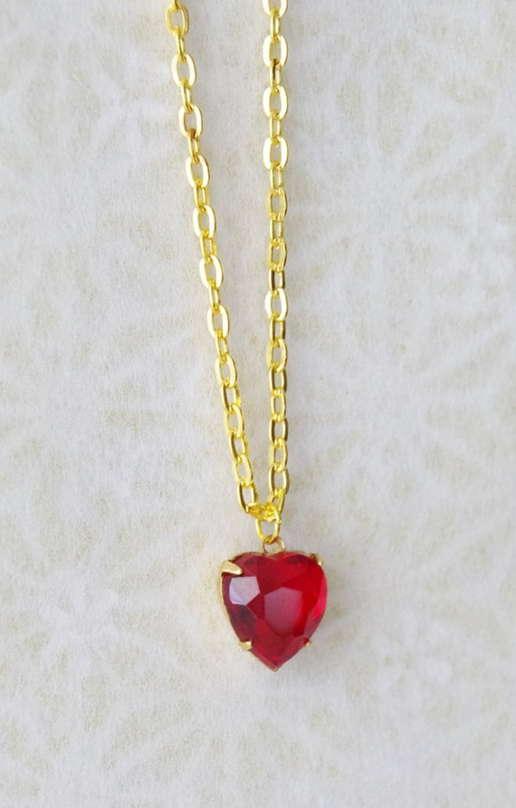 ruby heart necklace girlfriend present by. Black Bedroom Furniture Sets. Home Design Ideas