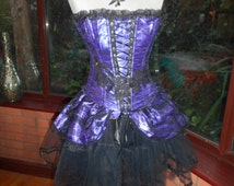Halloween steampunk burlesque victorian corset & choker necklace goth day of the dead zombie tutu skirt can be worn separate to the cors