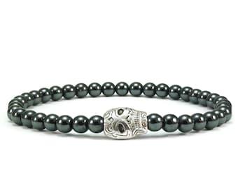 Skull Beaded Stretch Bracelet Hematite Gemstones