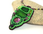 Asymmetrical Bead Embroidered Pendant Necklace Green Purple Seaglass Art Necklace Beaded Pendant Bead Embroidery Necklace Beadwork Gift