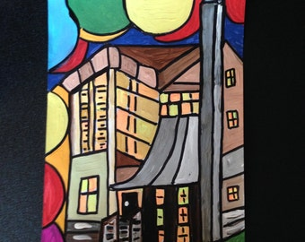 """Original, acrylic painting, """"High to the High-rise"""""""