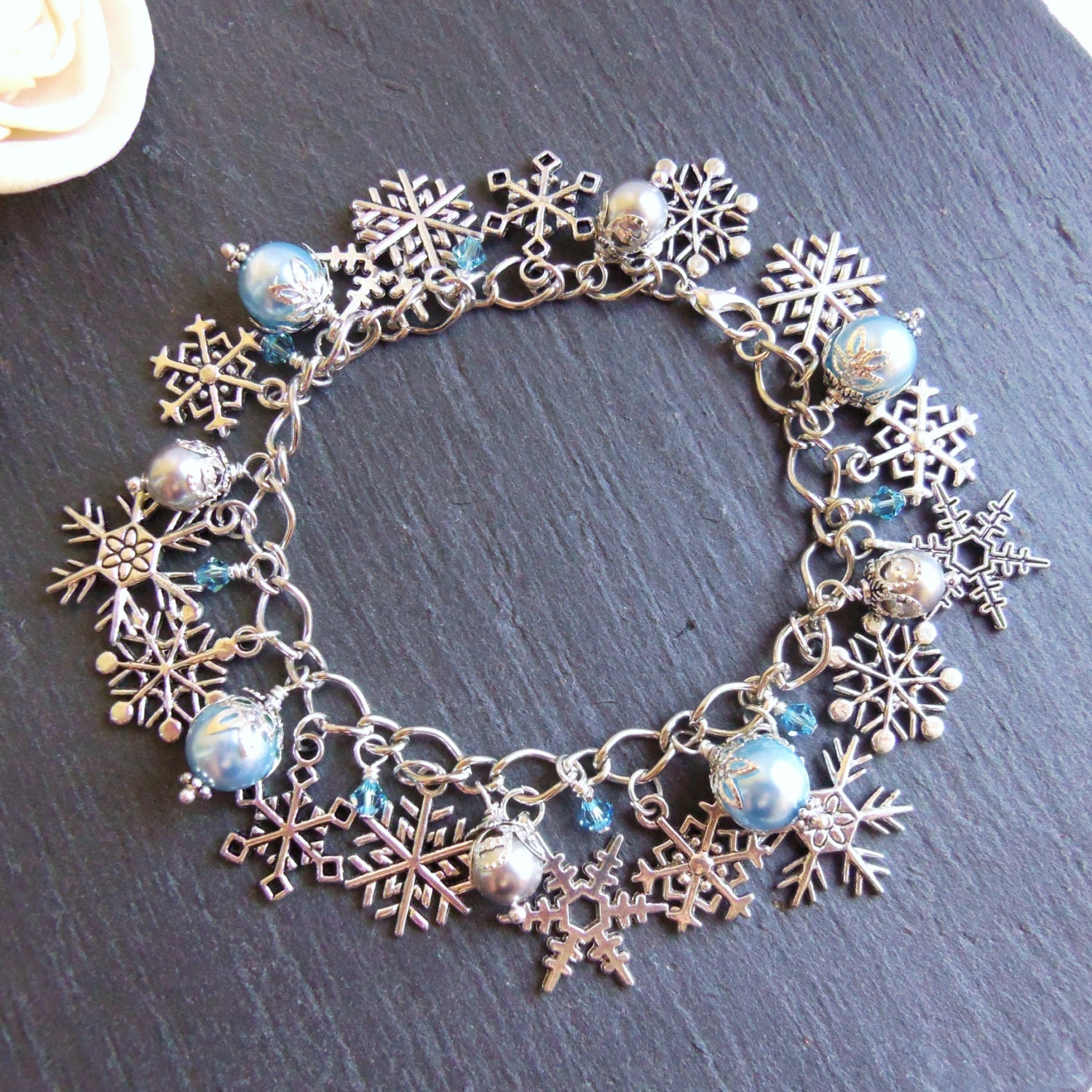 Blue And Silver Pearl And Snowflake Charm Bracelet Winter