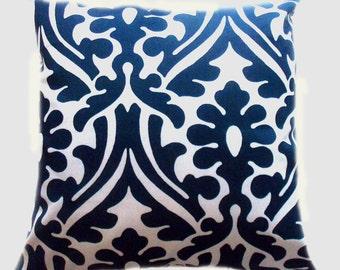 Pillow Pillows Cover Outdoor Indoor - Navy Blue White Damask Medallion Throw pillow Accent Decor Patio 14x14