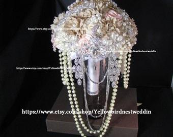 Bouquet wedding, brooch bouquet, champagne mixed bouquet