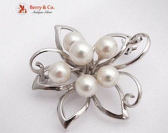 SaLe! sALe! Japanese Openwork Floral Brooch Sterling Silver Pearls 1930